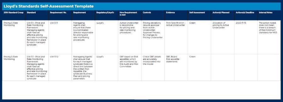 Lloyds Standards Self-Assessment Template